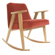 "rocking chair ""366"" - Jozef Chierowski- 366 concept -  ""Velvet"" velours chili teinte chêne - design polonais"
