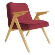 fauteuil bunny - 366 concept - velvet - velours merlot teinte chêne - design polonais
