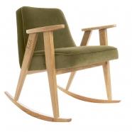 "rocking chair ""366"" - Jozef Chierowski- 366 concept -  ""Velvet"" velours  kaki teinte chêne - design polonais"