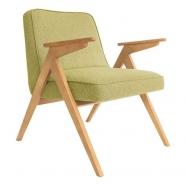 fauteuil bunny - 366 concept - tweed lemon teinte chêne - design polonais