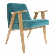 """fauteuil """"366"""" Jozef Chierowski - 366 concept - """"velvet""""  velours  turquoise -teinte chêne - design polonais"""