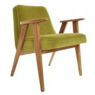 """fauteuil """"366"""" Jozef Chierowski - 366 Concept  - """"Velvet"""" - velours  lemonade teinte chêne foncée - design polonais"""