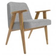 """fauteuil """"366"""" - Jozef Chierowski - 366 concept - loft - chiné silver - teinte chêne  foncé - design polonais"""