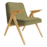 fauteuil bunny - 366 concept - velvet - velours kaki teinte chêne - design polonais