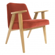 """fauteuil """"366"""" Jozef Chierowski - 366 concept - """"velvet""""  velours  chilipepper - teinte chêne - design polonais"""