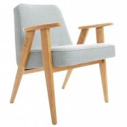 """fauteuil """"366"""" - Jozef Chierowski par 366 Concept - Tweed mentos  piètement teinte chêne - design polonais"""