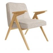 fauteuil bunny - 366 concept -loft sable chiné teinte chêne - design polonais