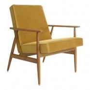 fauteuil fox - H.Lis - 366 concept - velours moutarde - teinte chêne foncé design polonais