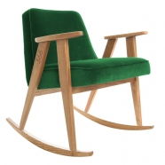 """rocking chair """"366"""" - Jozef Chierowski- 366 concept - Velvet  -  vert bouteille teinte chêne foncé - design polonais"""