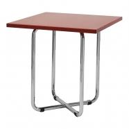 table basse fonctionnaliste chromée - carrée