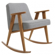 "rocking chair ""366"" - Jozef Chierowski- 366 concept - tweed  gris  teinte chêne foncé - design polonais"