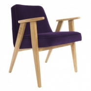 """fauteuil """"366"""" Jozef Chierowski - 366 concept - """"velvet""""  velours  mauve -teinte chêne - design polonais"""