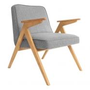fauteuil bunny - 366 concept - tweed gris teinte chêne - design polonais