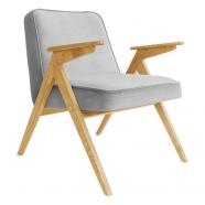 fauteuil bunny - 366 concept - velvet - velours gris souris teinte chêne - design polonais