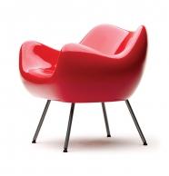 design polonais - roman modzelewski - fauteuil RM58 classique - rouge - vzor