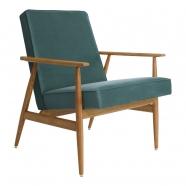 fauteuil fox - H.Lis - 366 concept - velours vert océan  - teinte chêne foncé.