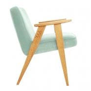 """fauteuil """"366"""" Jozef Chierowski - 366 Concept  - """"Velvet"""" - velours menthe teinte chêne - design polonais"""