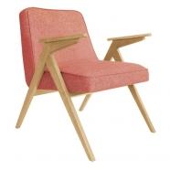 fauteuil bunny - 366 concept -loft framboise chiné teinte chêne - design polonais