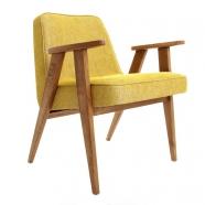 """fauteuil """"366"""" - Jozef Chierowski - 366 Concept - loft - chiné moutarde teinte chêne foncé - design polonais"""