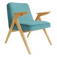 fauteuil bunny - 366 concept - velvet - velours turquoise teinte chêne - design polonais