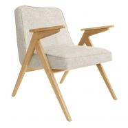 fauteuil bunny - 366 concept -loft white chiné teinte chêne - design polonais
