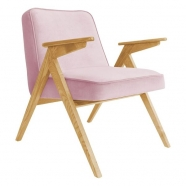 fauteuil bunny - 366 concept - velvet - velours rose poudre et velours  rose teinte chêne - design polonais