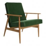 fauteuil fox - H.Lis - 366 concept - velours vert bouteille - teinte chêne  foncé - design polonais