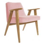 """fauteuil """"366"""" - Jozef Chierowski - 366  Concept - velvet - velours rose - teinte chêne foncé - design polonais"""