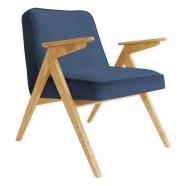 fauteuil bunny - 366 concept - velvet - velours bleu marine teinte chêne - design polonais