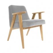 fauteuil 366 - Jozef Chierowski - 366 Concept  - velours gris souris  teinte chêne - design polonais