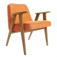 fauteuil 366 - Jozef Chieroki - 366 CONCEPT - loft / chiné - mandarine  piètement teinte chêne foncé - design polonais
