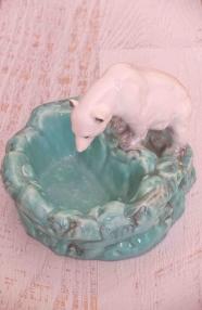 """Ours blanc en céramique des années 60  """"Eskimo"""""""