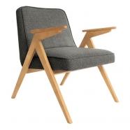 fauteuil bunny - 366 concept - tweed noir teinte chêne - design polonais