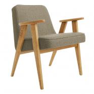 "fauteuil ""366 "" Jozef Chierowski - 366 Concept -  tweed stone teinte chêne"