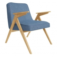 fauteuil bunny - 366 concept - loft denim chiné teinte chêne - design polonais