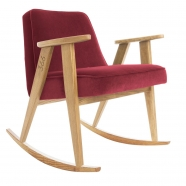 "rocking chair ""366"" - Jozef Chierowski- 366 concept -  ""Velvet"" velours  merlot teinte chêne - design polonais"