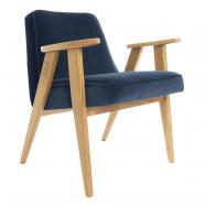 """fauteuil """"366"""" Jozef Chierowski - 366 concept - """"velvet""""  velours bleu foncé - teinte chêne - design polonais"""