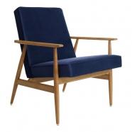 fauteuil fox - H.Lis - velours bleu indigo - 366 concept - teinte chêne foncé design polonais