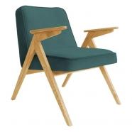 fauteuil bunny - 366 concept - velvet - velours océan teinte chêne - design polonais
