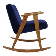 "rocking chair ""366"" - Jozef Chierowski- 366 concept - ""velvet"" velours indigo teinte chêne foncé - design polonais"