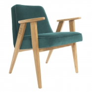 """fauteuil """"366"""" Jozef Chierowski - 366 concept - """"velvet""""  velours océan - teinte chêne foncé - design polonais"""