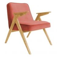 fauteuil bunny - 366 concept - velvet - velours  chili teinte chêne - design polonais