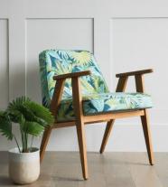 fauteuil 366 - imprimé art déco - 366 concept - teinte chêne foncé - design polonais