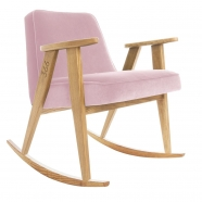 "rocking chair ""366"" - Jozef Chierowski- 366 concept -  ""Velvet"" velours  rose clair  teinte chêne - design polonais"
