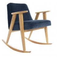 "rocking chair ""366"" - Jozef Chierowski- 366 concept -  ""Velvet"" velours bleu marine teinte chêne - design polonais"