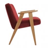 """fauteuil """"366"""" Jozef chierowski - 366 concept - """"velvet""""  velours  merlot - teinte chêne foncé - design polonais"""