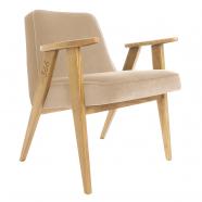 """fauteuil 366 - Jozef Chierowski - 366 Concept  - """"velvet"""" velours sable teinte chêne - design polonais"""