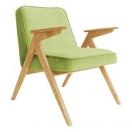 fauteuil bunny - 366 concept - velvet - velours vert clair teinte chêne - design polonais