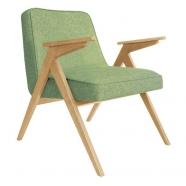 fauteuil bunny - 366 concept - loft vert olive chiné teinte chêne - design polonais