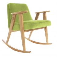 "rocking chair ""366"" - Jozef Chierowski- 366 concept -  ""Velvet"" velours  vert clair teinte chêne - design polonais"